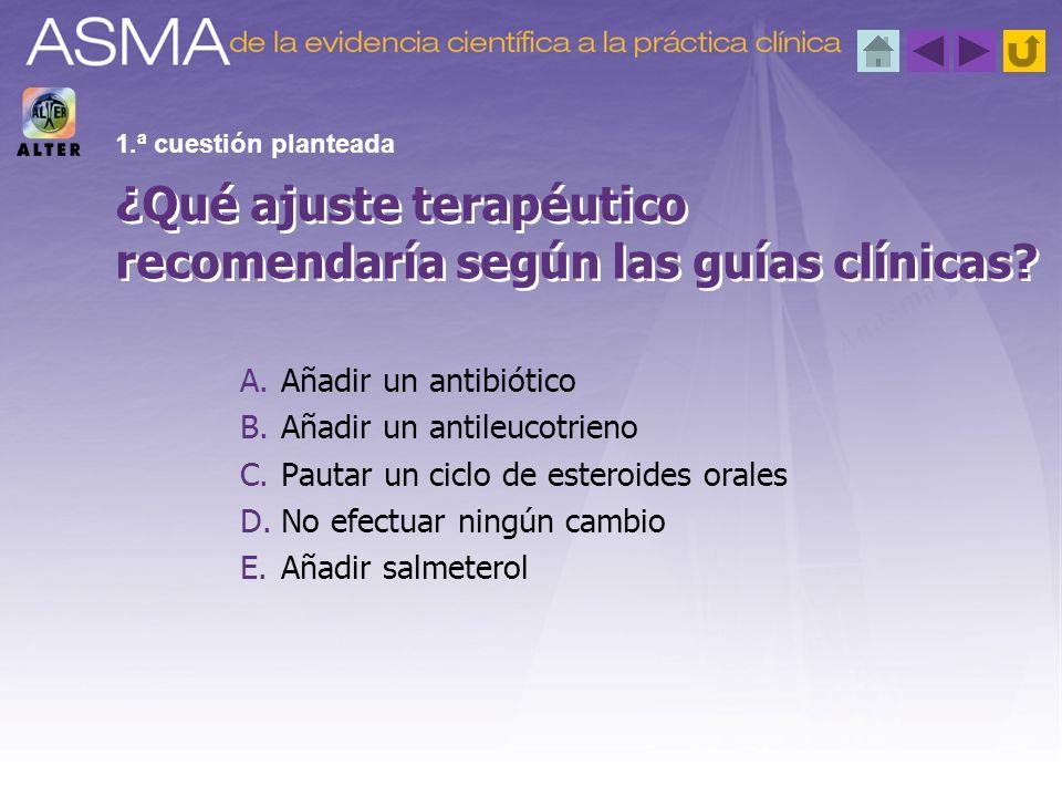 A.< 15 B.< 17 C.< 19 D.< 12 Según el ACT, la puntuación de un asma mal controlado es...