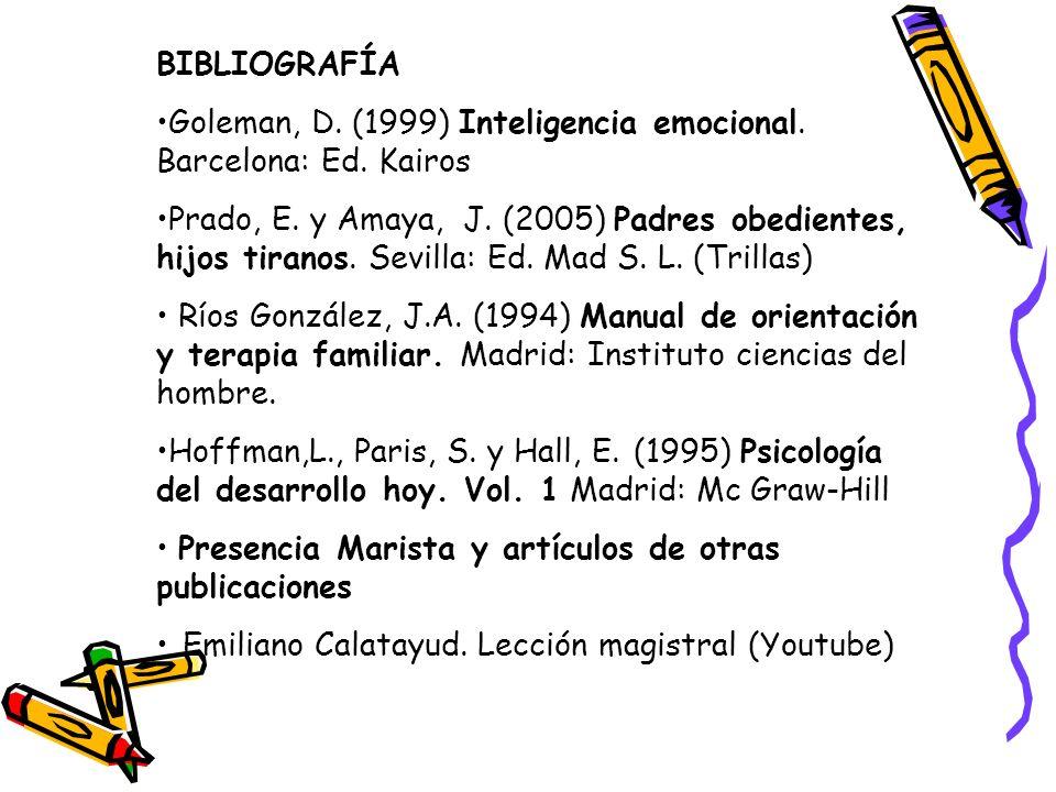 BIBLIOGRAFÍA Goleman, D. (1999) Inteligencia emocional. Barcelona: Ed. Kairos Prado, E. y Amaya, J. (2005) Padres obedientes, hijos tiranos. Sevilla: