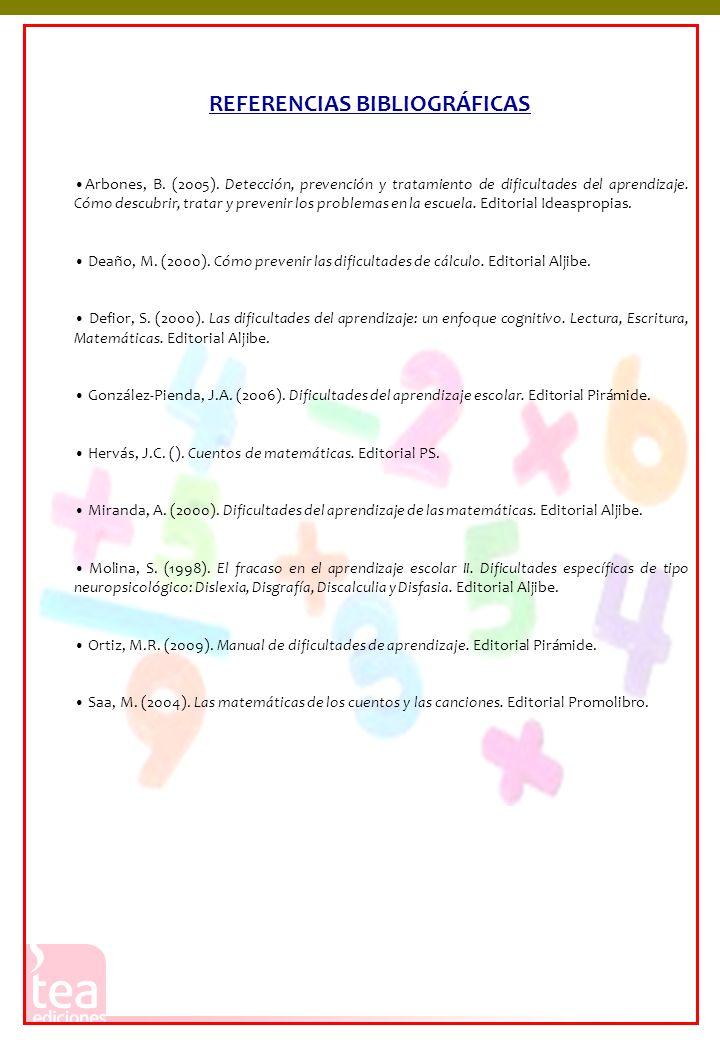 Arbones, B. (2005). Detección, prevención y tratamiento de dificultades del aprendizaje. Cómo descubrir, tratar y prevenir los problemas en la escuela