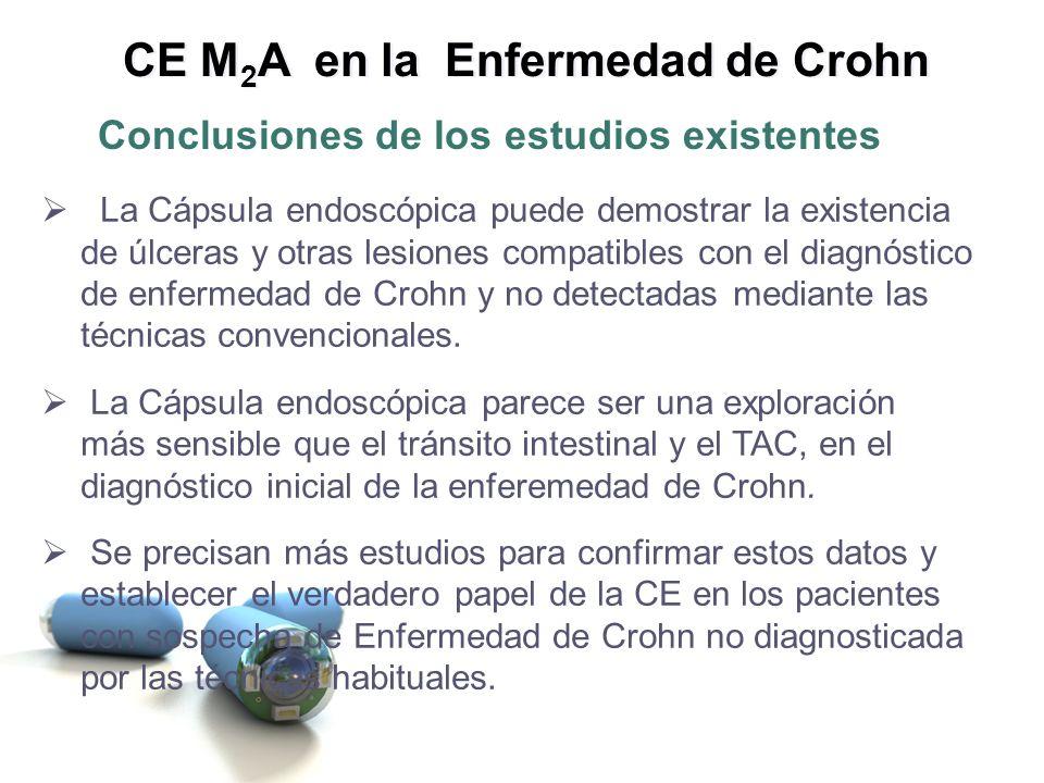 La Cápsula endoscópica puede demostrar la existencia de úlceras y otras lesiones compatibles con el diagnóstico de enfermedad de Crohn y no detectadas