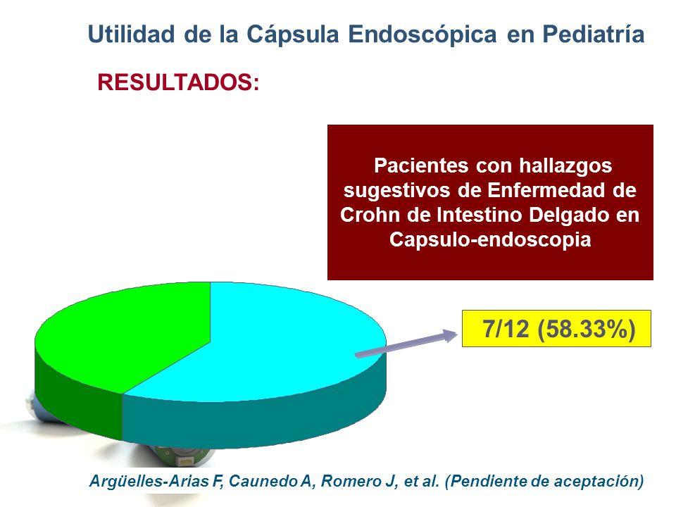 Pacientes con hallazgos sugestivos de Enfermedad de Crohn de Intestino Delgado en Capsulo-endoscopia 7/12 (58.33%) Utilidad de la Cápsula Endoscópica