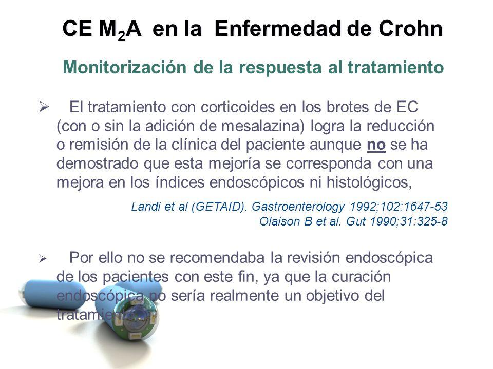 El tratamiento con corticoides en los brotes de EC (con o sin la adición de mesalazina) logra la reducción o remisión de la clínica del paciente aunqu