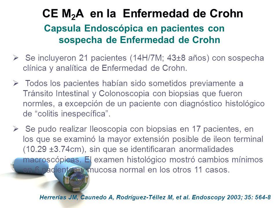 Herrerías JM, Caunedo A, Rodríguez-Téllez M, et al. Endoscopy 2003; 35: 564-8 Capsula Endoscópica en pacientes con sospecha de Enfermedad de Crohn Se
