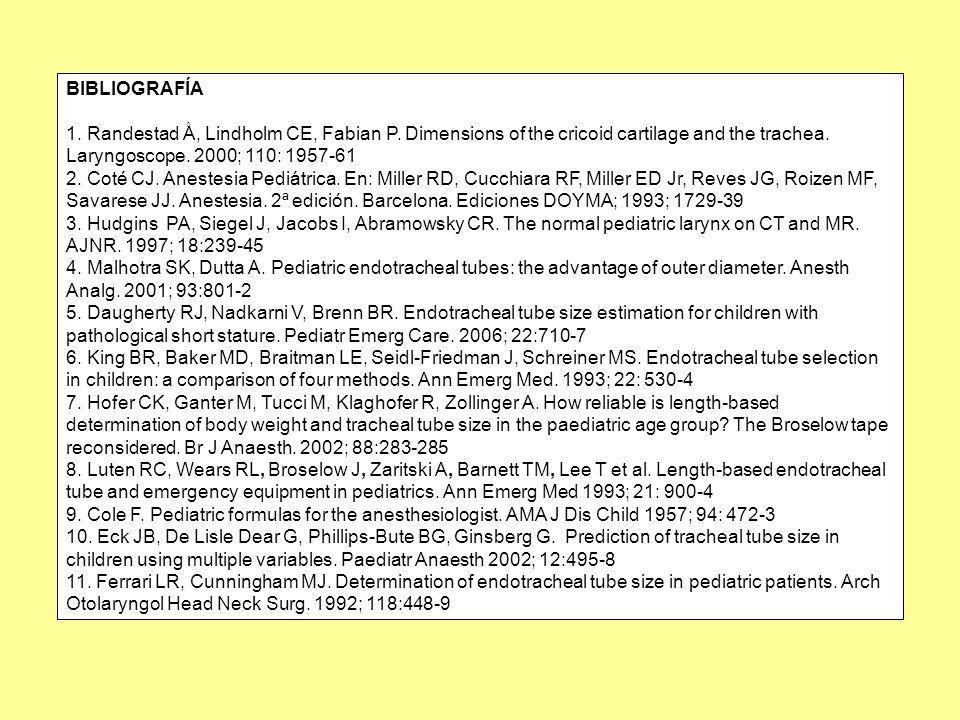 BIBLIOGRAFÍA 1. Randestad Å, Lindholm CE, Fabian P. Dimensions of the cricoid cartilage and the trachea. Laryngoscope. 2000; 110: 1957-61 2. Coté CJ.