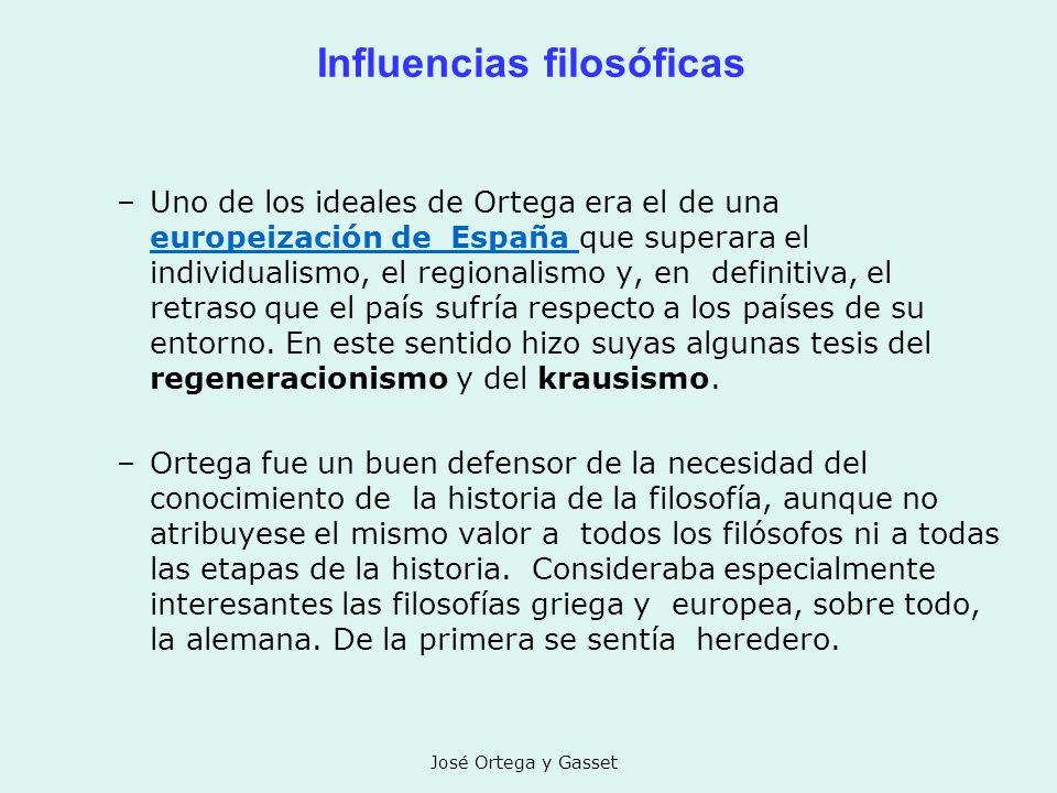 José Ortega y Gasset Influencias filosóficas –Uno de los ideales de Ortega era el de una europeización de España que superara el individualismo, el re