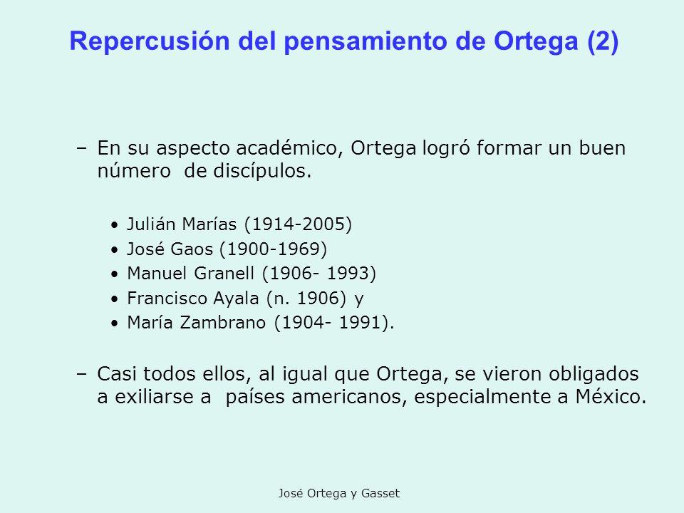 José Ortega y Gasset Repercusión del pensamiento de Ortega (2) –En su aspecto académico, Ortega logró formar un buen número de discípulos. Julián Marí