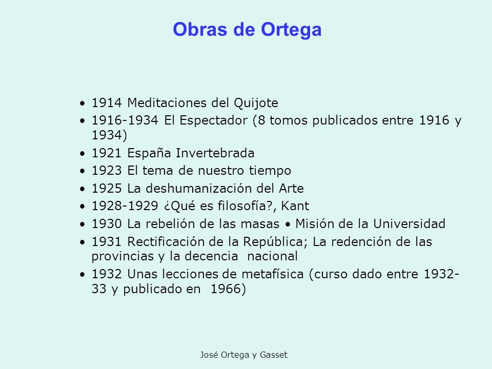 José Ortega y Gasset Obras de Ortega 1914 Meditaciones del Quijote 1916-1934 El Espectador (8 tomos publicados entre 1916 y 1934) 1921 España Inverteb
