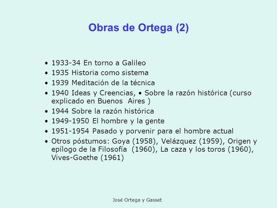 José Ortega y Gasset Obras de Ortega (2) 1933-34 En torno a Galileo 1935 Historia como sistema 1939 Meditación de la técnica 1940 Ideas y Creencias, S