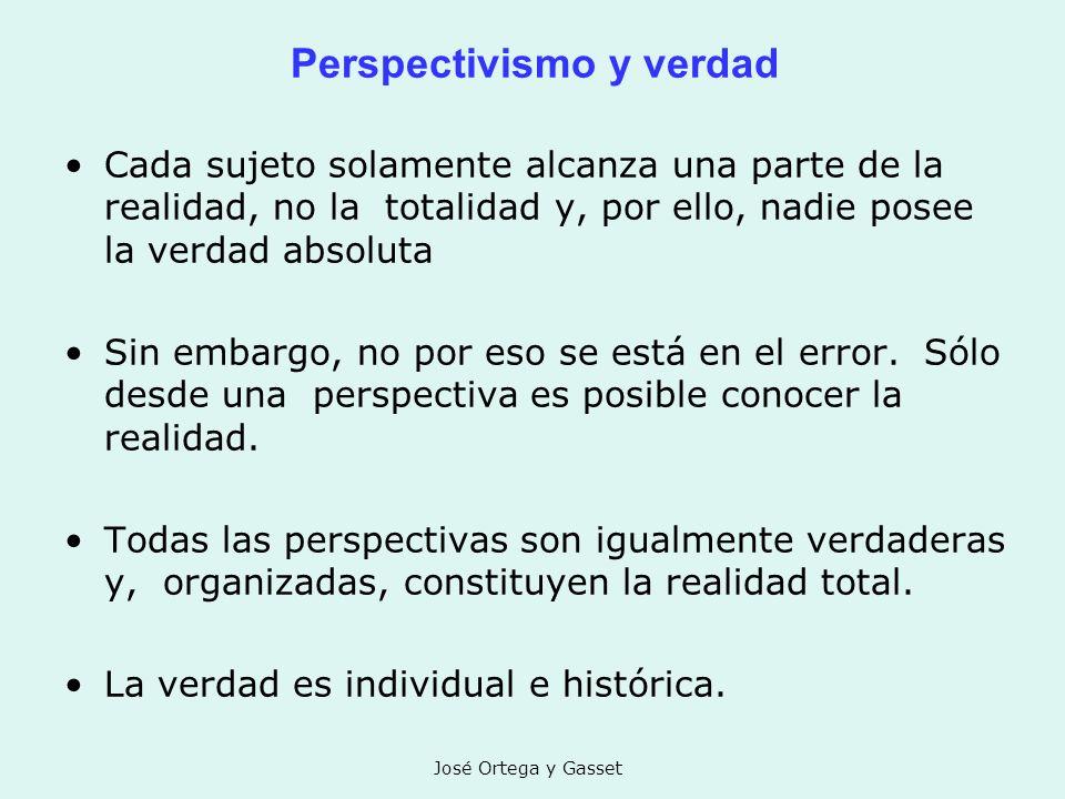 José Ortega y Gasset Perspectivismo y verdad Cada sujeto solamente alcanza una parte de la realidad, no la totalidad y, por ello, nadie posee la verda