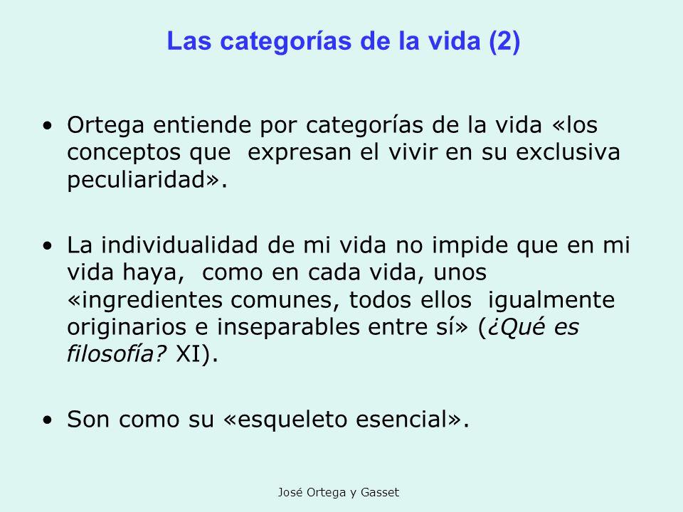 José Ortega y Gasset Las categorías de la vida (2) Ortega entiende por categorías de la vida «los conceptos que expresan el vivir en su exclusiva pecu