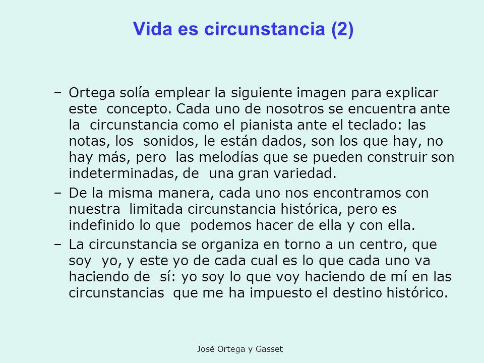 José Ortega y Gasset Vida es circunstancia (2) –Ortega solía emplear la siguiente imagen para explicar este concepto. Cada uno de nosotros se encuentr