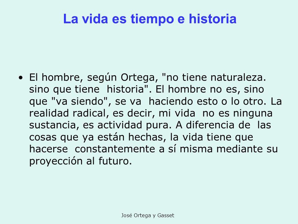 José Ortega y Gasset La vida es tiempo e historia El hombre, según Ortega,