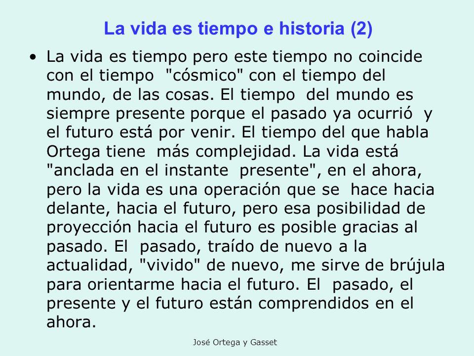 José Ortega y Gasset La vida es tiempo e historia (2) La vida es tiempo pero este tiempo no coincide con el tiempo