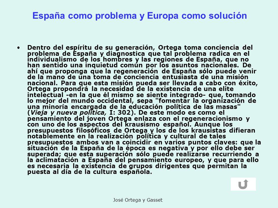 José Ortega y Gasset España como problema y Europa como solución Dentro del espíritu de su generación, Ortega toma conciencia del problema de España y