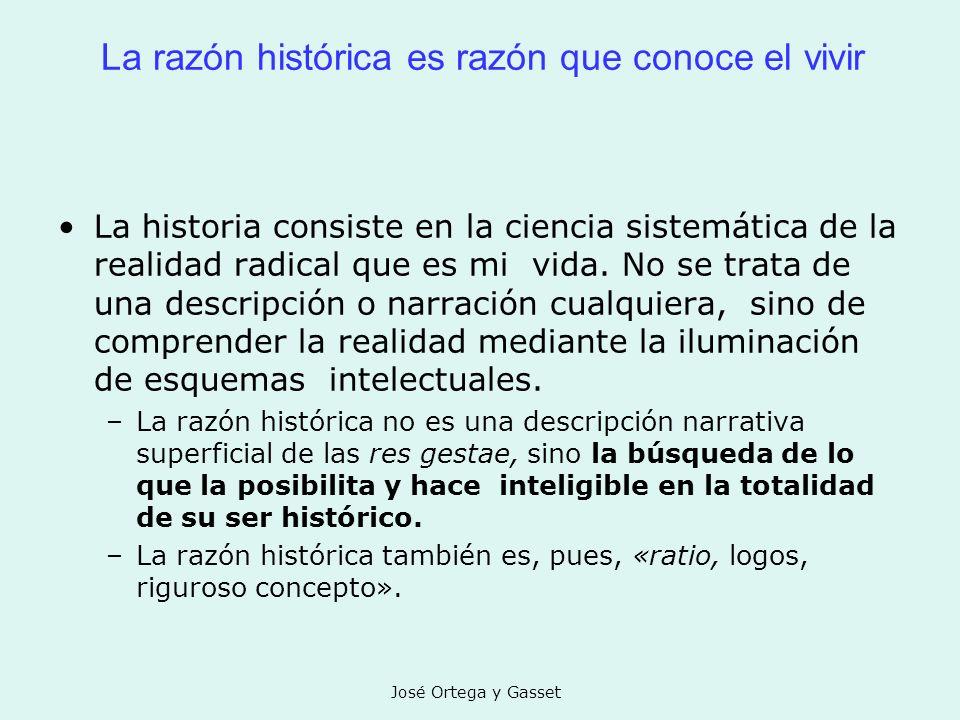 José Ortega y Gasset La razón histórica es razón que conoce el vivir La historia consiste en la ciencia sistemática de la realidad radical que es mi v