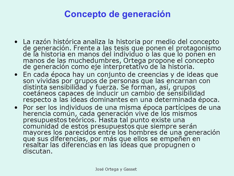 José Ortega y Gasset Concepto de generación La razón histórica analiza la historia por medio del concepto de generación. Frente a las tesis que ponen