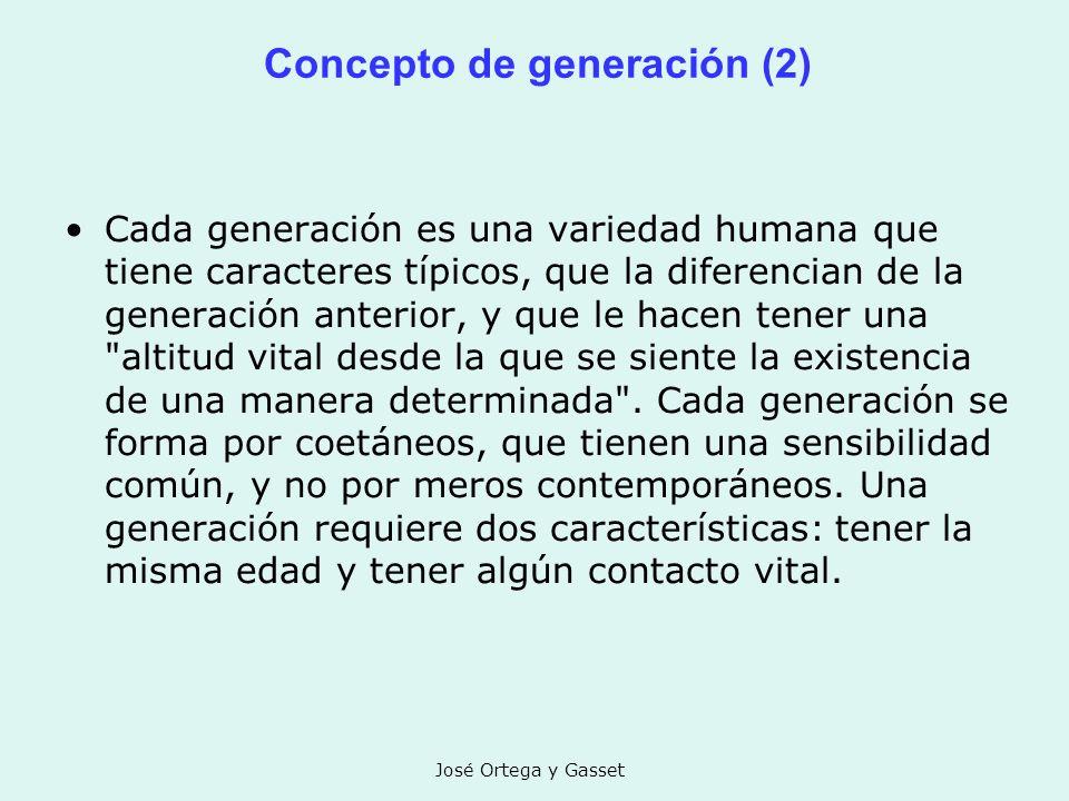José Ortega y Gasset Concepto de generación (2) Cada generación es una variedad humana que tiene caracteres típicos, que la diferencian de la generaci