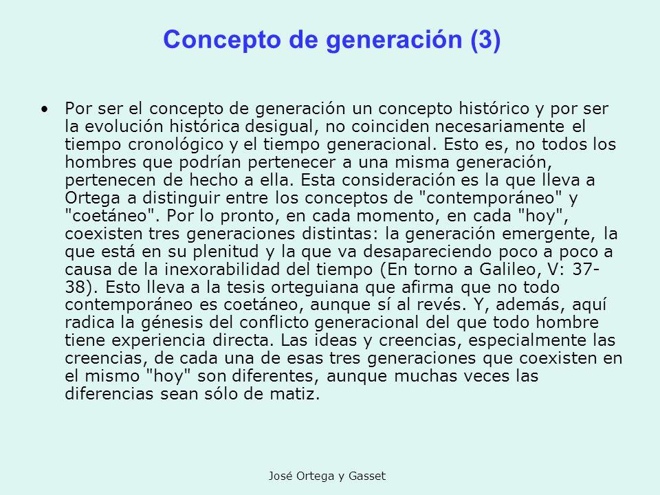 José Ortega y Gasset Concepto de generación (3) Por ser el concepto de generación un concepto histórico y por ser la evolución histórica desigual, no