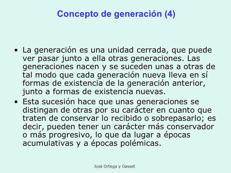 José Ortega y Gasset Concepto de generación (4) La generación es una unidad cerrada, que puede ver pasar junto a ella otras generaciones. Las generaci