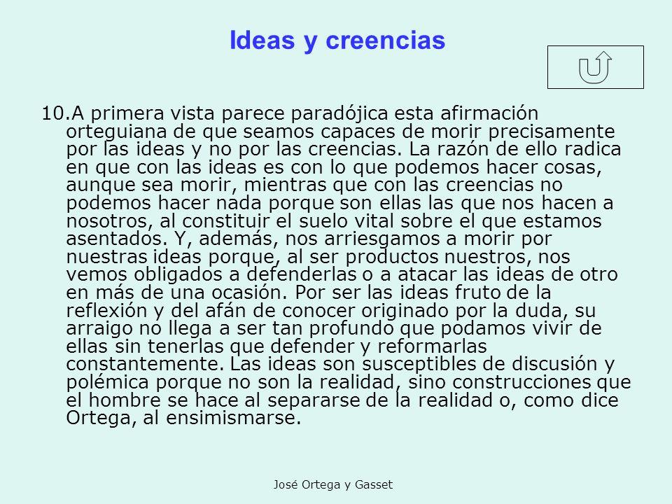 José Ortega y Gasset Ideas y creencias 10.A primera vista parece paradójica esta afirmación orteguiana de que seamos capaces de morir precisamente por