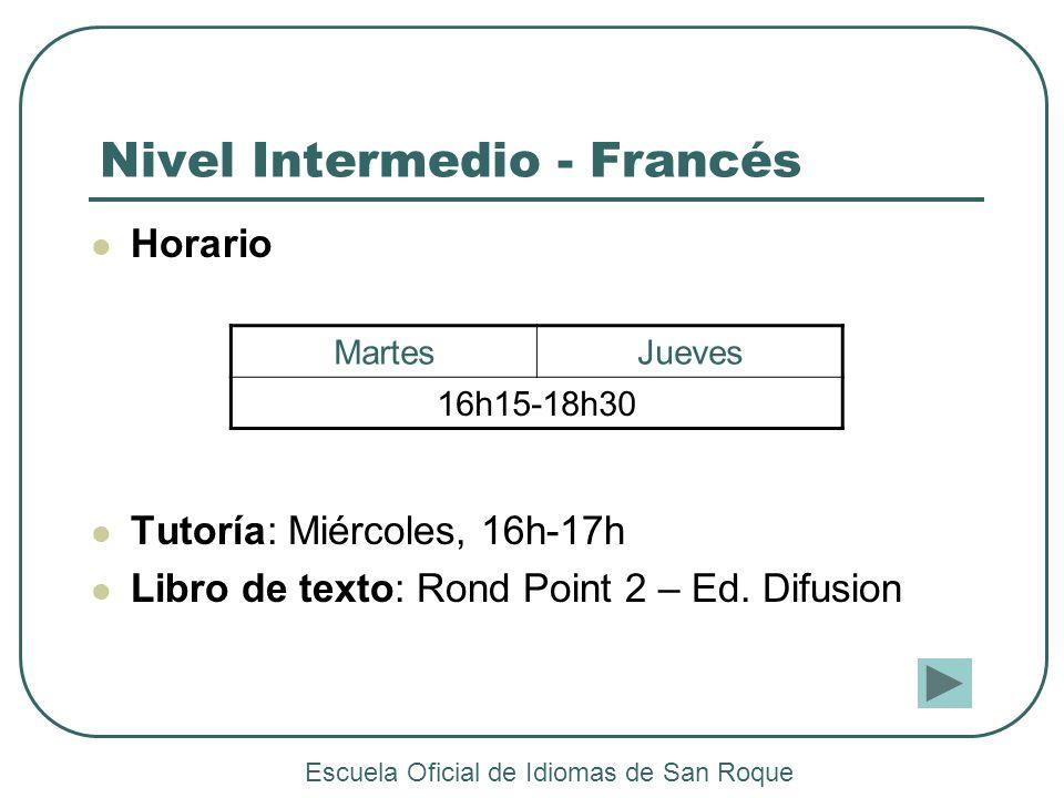 Nivel Intermedio - Francés Horario Tutoría: Miércoles, 16h-17h Libro de texto: Rond Point 2 – Ed. Difusion MartesJueves 16h15-18h30 Escuela Oficial de