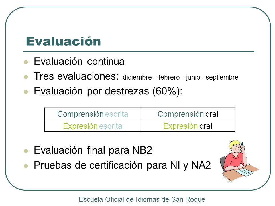 Evaluación Evaluación continua Tres evaluaciones: diciembre – febrero – junio - septiembre Evaluación por destrezas (60%): Evaluación final para NB2 P