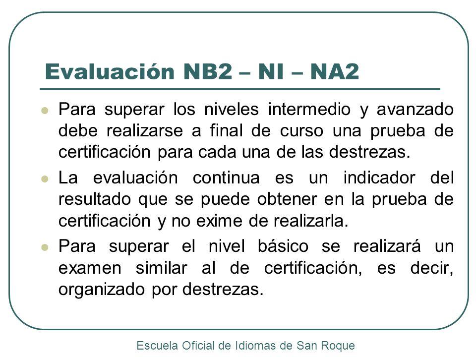 Evaluación NB2 – NI – NA2 Para superar los niveles intermedio y avanzado debe realizarse a final de curso una prueba de certificación para cada una de