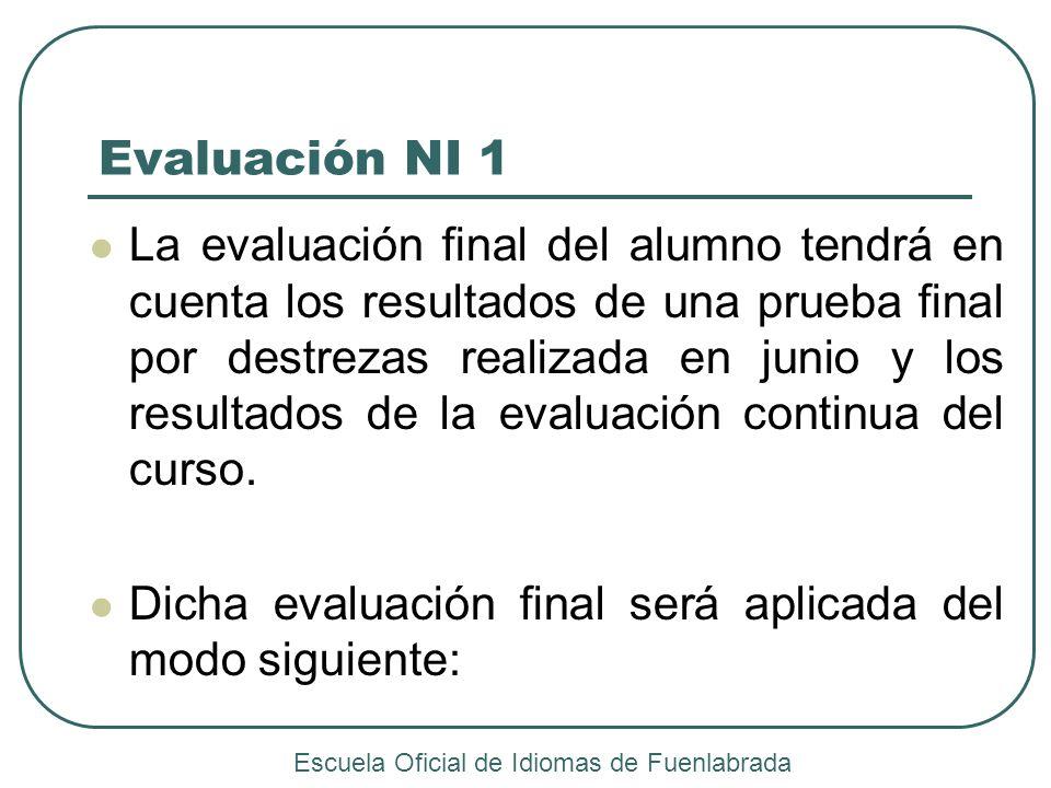 Evaluación NI 1 La evaluación final del alumno tendrá en cuenta los resultados de una prueba final por destrezas realizada en junio y los resultados d
