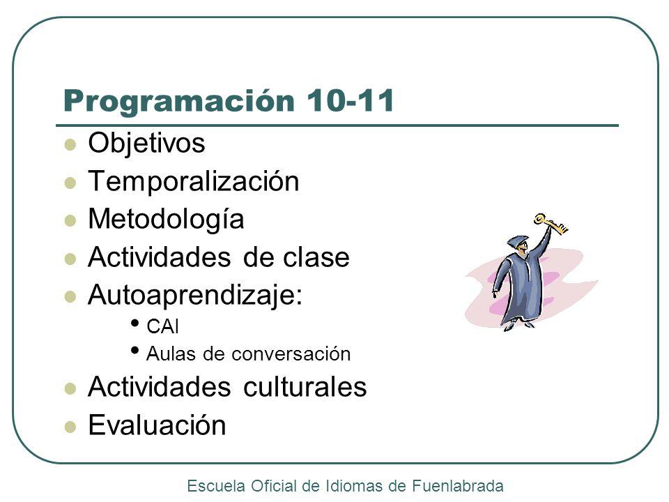 Programación 10-11 Objetivos Temporalización Metodología Actividades de clase Autoaprendizaje: CAI Aulas de conversación Actividades culturales Evalua