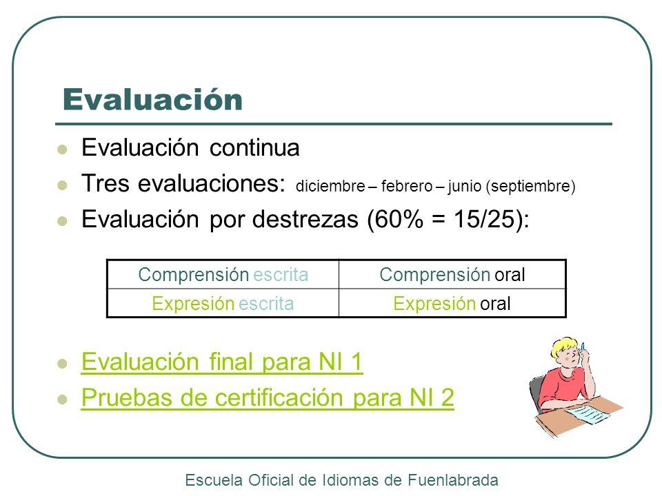 Evaluación Evaluación continua Tres evaluaciones: diciembre – febrero – junio (septiembre) Evaluación por destrezas (60% = 15/25): Evaluación final pa