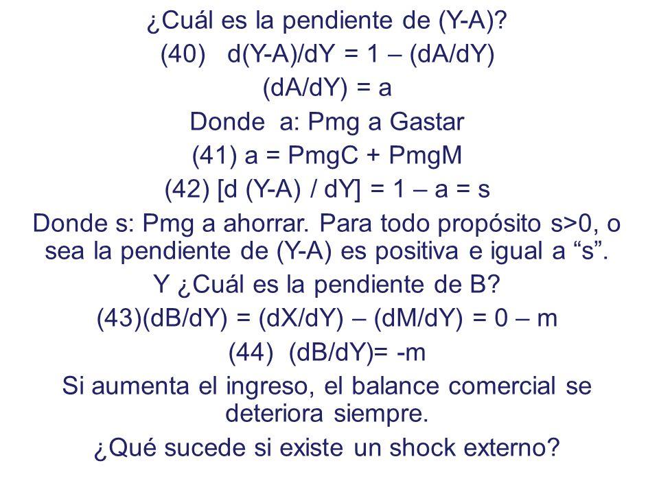 Así diremos que: (40) Y = A(Y, G) + B(Y) (41) B = X 0 – M(Y) (42) B = Y – A Gráficamente tendríamos: Y - A B Y -m s B0B0 Y0Y0 0 ( - ) ( + ) B E Situación de Equilibrio Externo con Superávit