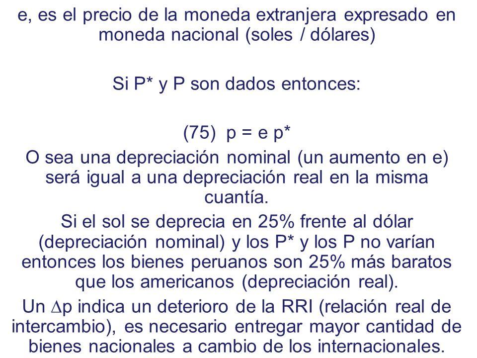 A continuación incorporemos un precio fundamental. Definamos: (74) p = (eP*/P), donde p denota los términos de intercambio de paridad o tipo de cambio
