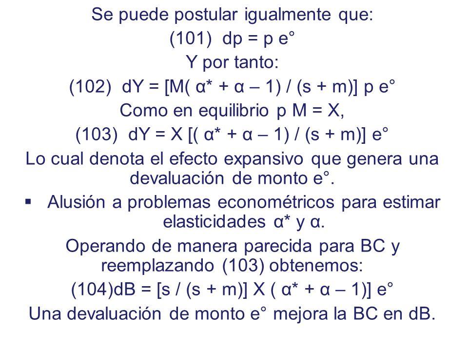 POLITICAS PARA EL AJUSTE EXTERNO Devaluación En Y = A (Y) + B (p, Y) Si solo existe devaluación tendríamos: dY = a dY – m dY + [M( α* + α – 1)] dp De