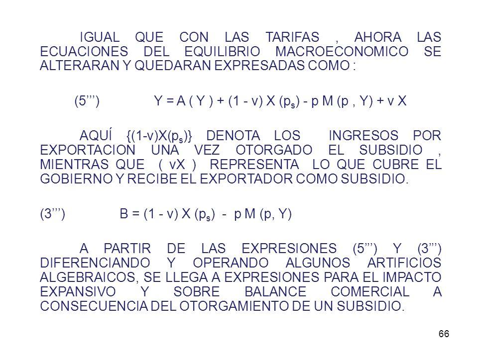 65 2º) SUBSIDIOS A LAS EXPORTACIONES LAS EXPORTACIONES SE VENDERAN A UN PRECIO MENOR QUE AQUEL QUE RIGE EN EL MERCADO INTERNACIONAL. CONSTITUYE UNA DI