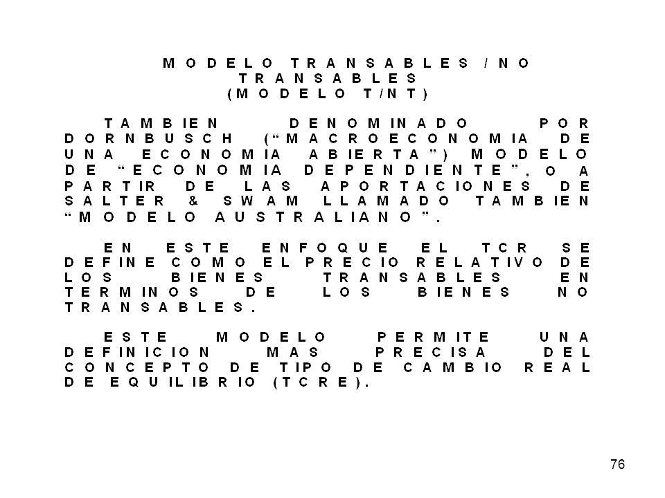 JOB-FE-UNP75 EL MODELO TRANSABLES / NO TRANSABLES MODELO (T / NT) ESTAMOS ANTE UN MODELO QUE SOLO CONSIDERA LA PRESENCIA DE DOS CLASES DE BIENES : LOS