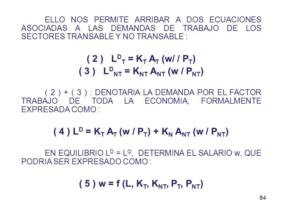 83 ADEMAS, EXISTE RENTA EN AMBOS SECTORES ( r T y r NT ); PODRIAMOS PLANTEAR UN ENFOQUE MICROECONOMICO APOYADO EN : B T = P T F T (K T, L T ) - w L T