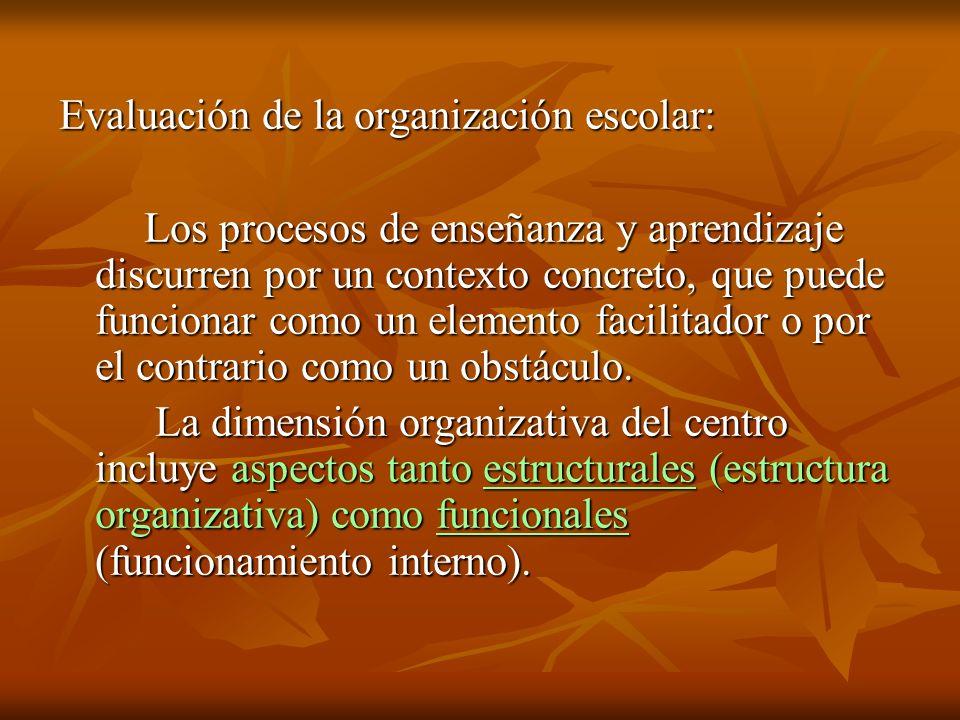 Evaluación de la organización escolar: Los procesos de enseñanza y aprendizaje discurren por un contexto concreto, que puede funcionar como un element