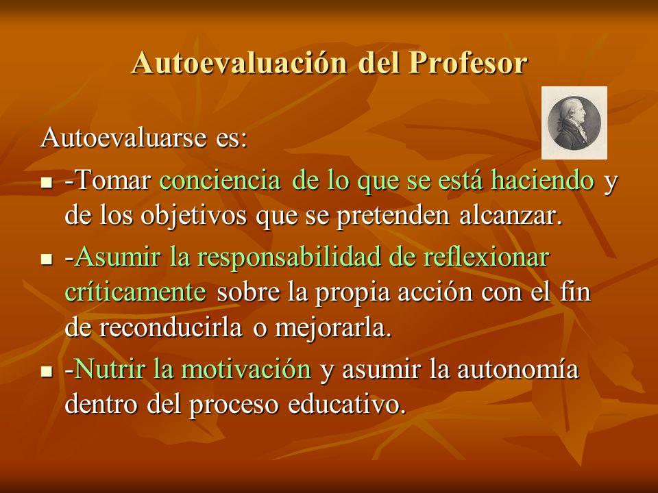 Autoevaluación del Profesor Autoevaluarse es: -Tomar conciencia de lo que se está haciendo y de los objetivos que se pretenden alcanzar. -Tomar concie