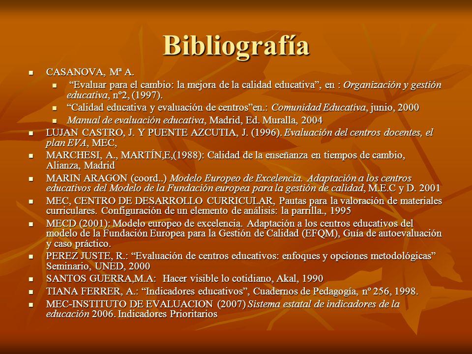 Bibliografía CASANOVA, Mª A. CASANOVA, Mª A. Evaluar para el cambio: la mejora de la calidad educativa, en : Organización y gestión educativa, nº2, (1