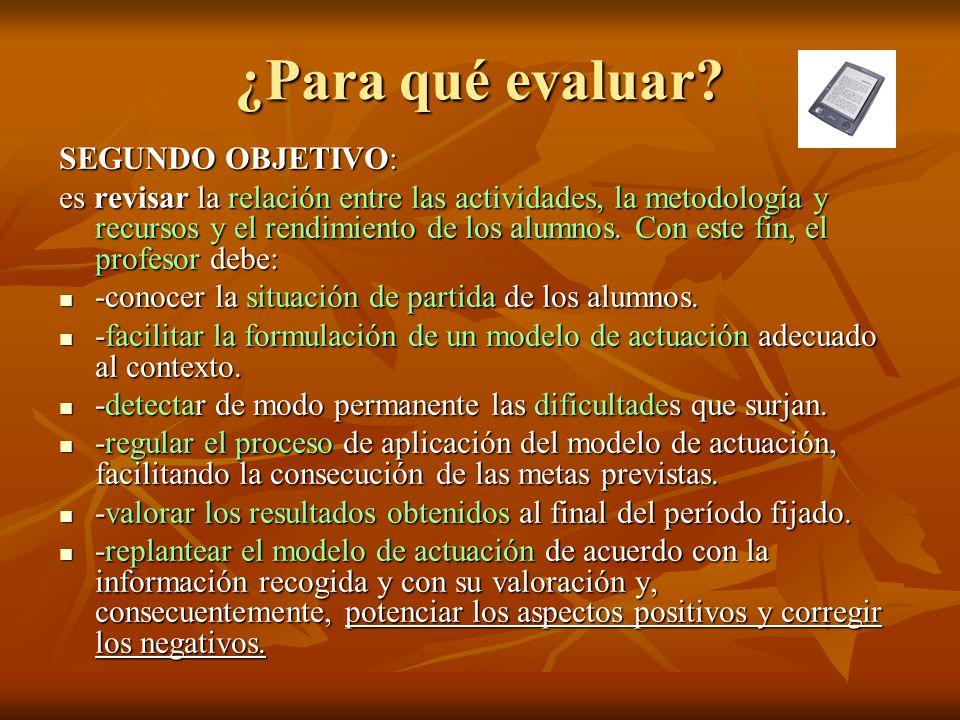 ¿Para qué evaluar? SEGUNDO OBJETIVO: es revisar la relación entre las actividades, la metodología y recursos y el rendimiento de los alumnos. Con este