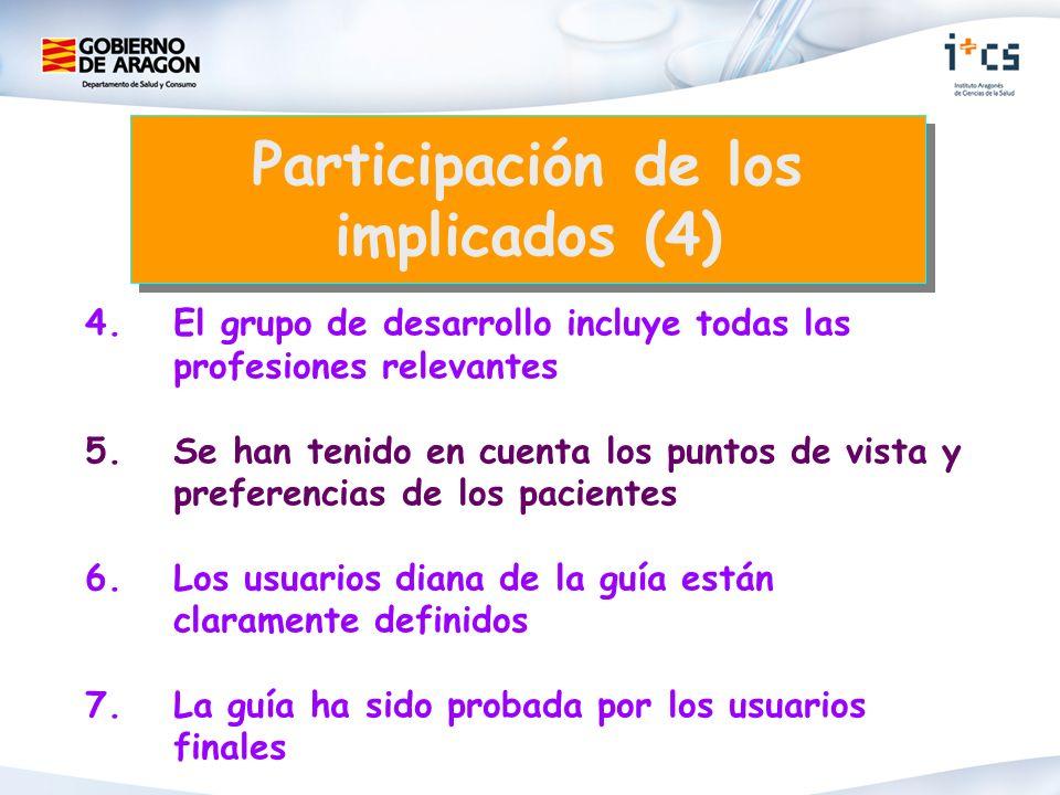 4.El grupo de desarrollo incluye todas las profesiones relevantes 5. Se han tenido en cuenta los puntos de vista y preferencias de los pacientes 6. Lo