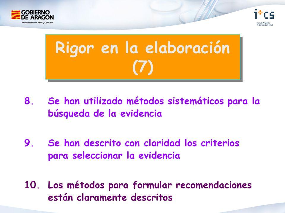 8. Se han utilizado métodos sistemáticos para la búsqueda de la evidencia 9. Se han descrito con claridad los criterios para seleccionar la evidencia
