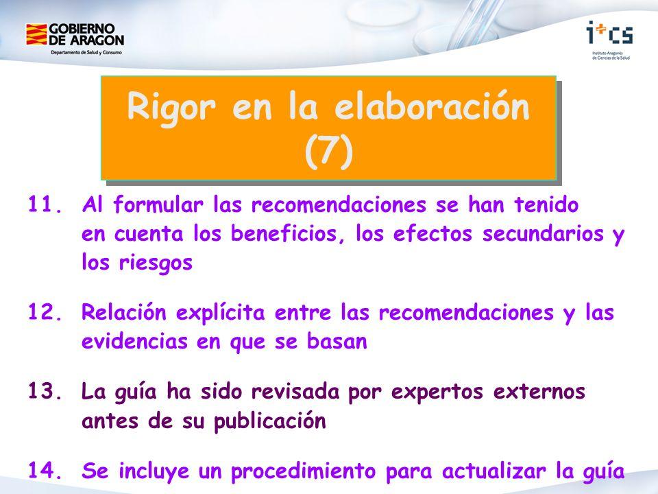 11.Al formular las recomendaciones se han tenido en cuenta los beneficios, los efectos secundarios y los riesgos 12. Relación explícita entre las reco