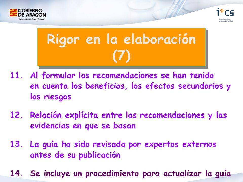 11.Al formular las recomendaciones se han tenido en cuenta los beneficios, los efectos secundarios y los riesgos 12.