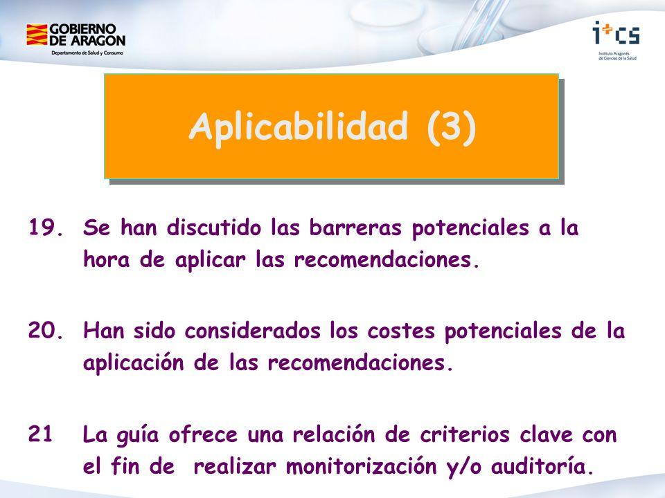 19.Se han discutido las barreras potenciales a la hora de aplicar las recomendaciones.