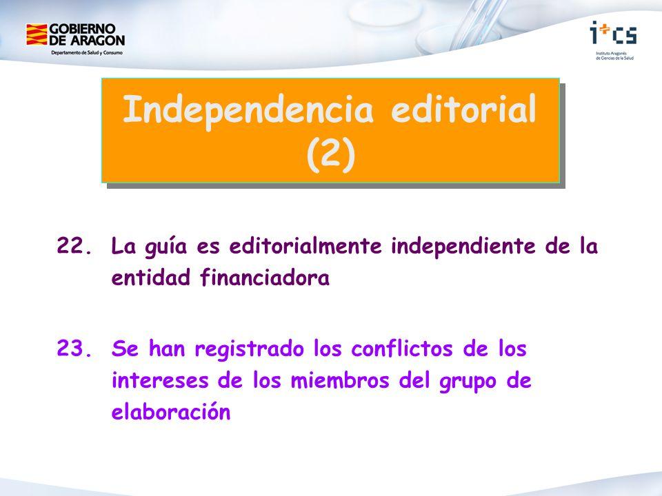 22.La guía es editorialmente independiente de la entidad financiadora 23.