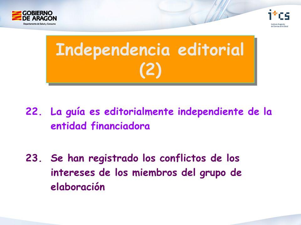 22. La guía es editorialmente independiente de la entidad financiadora 23. Se han registrado los conflictos de los intereses de los miembros del grupo