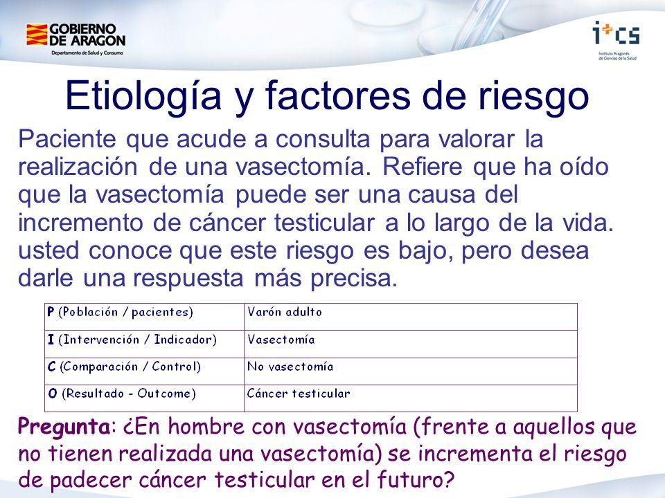 Etiología y factores de riesgo Paciente que acude a consulta para valorar la realización de una vasectomía. Refiere que ha oído que la vasectomía pued