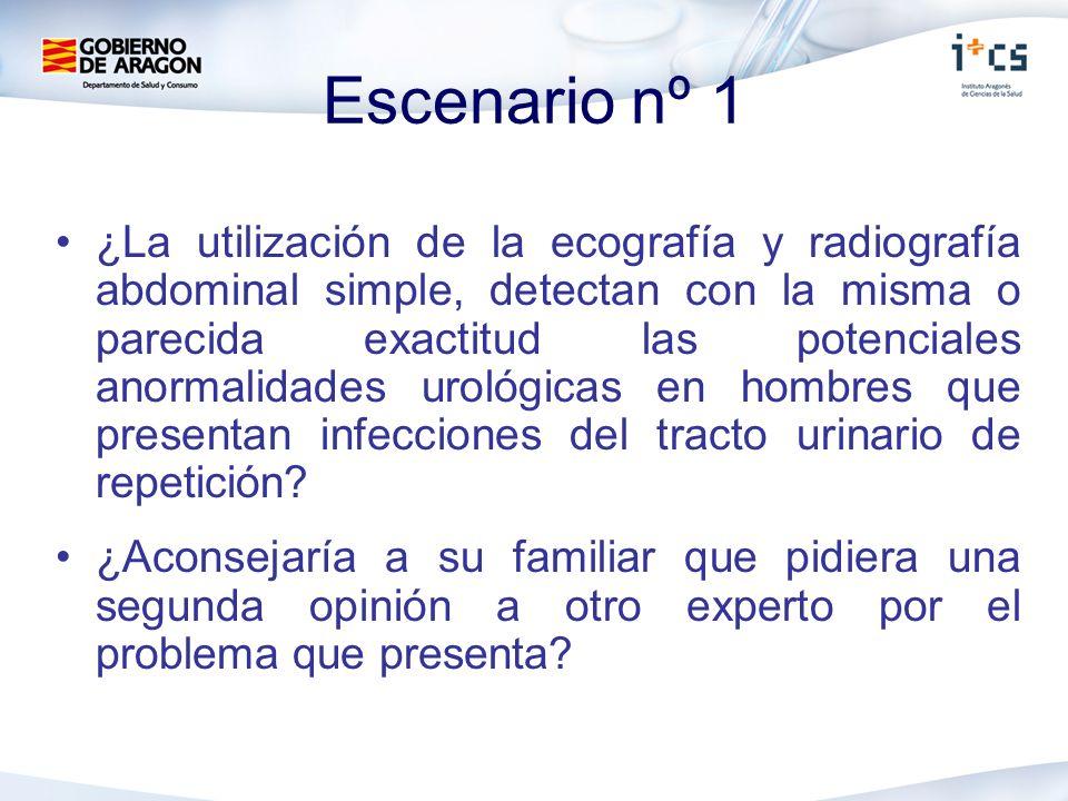 Escenario nº 1 ¿La utilización de la ecografía y radiografía abdominal simple, detectan con la misma o parecida exactitud las potenciales anormalidades urológicas en hombres que presentan infecciones del tracto urinario de repetición.