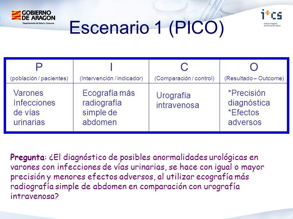 Escenario 1 (PICO) Pregunta: ¿El diagnóstico de posibles anormalidades urológicas en varones con infecciones de vías urinarias, se hace con igual o ma